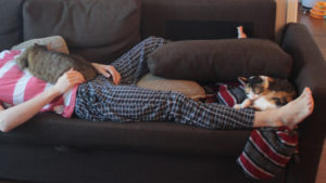 What's better than two sick dad's cuddling their cats? NOTHING! (Photos of Cats)